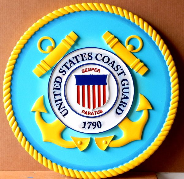 V31911 – Carved 3-D Wall Plaque of the Seal of the US Coast Guard – Aqua and Yellow Blue version, inner text