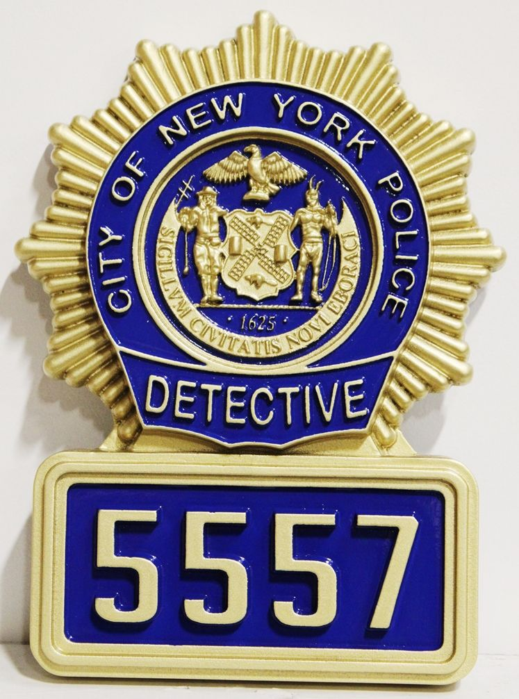PP-1005 - Carved 3D Wall Plaque  of a Badge of a Detective of  the Police Department of New York City