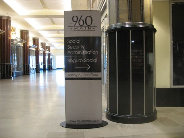 Interior Lobby Free Standing Pylon Directional Sign, Easy Change Printed Paper Insert, Convex Lens Cover