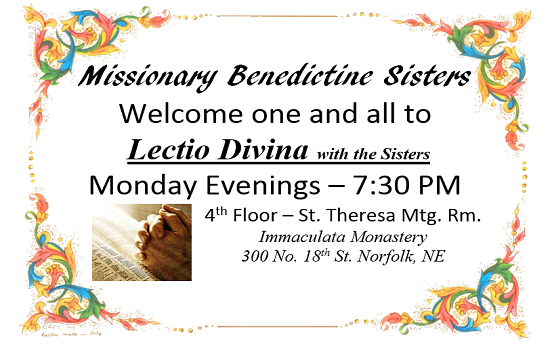 Join us for Lectio Divina on Monday Nights!
