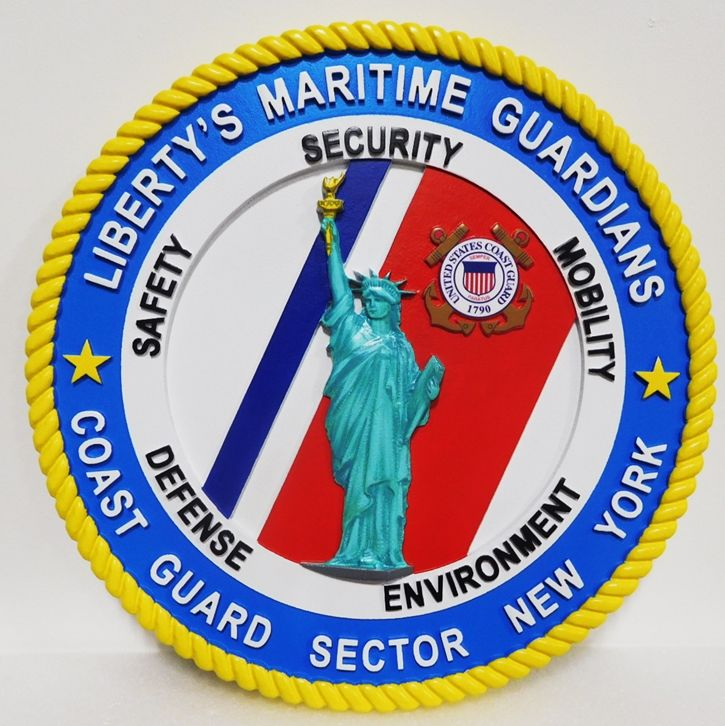 NP-2030 - Carved Plaque of the Seal of the US Coast Guard, for Sector New York . 2.5 D Artist-Painted