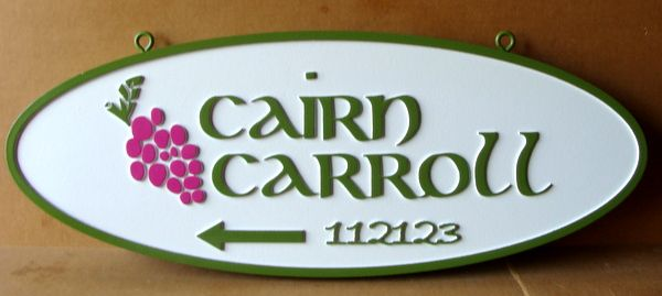 R27401 - Hanging Carved 2.5-D  HDU Wayfinding Address Sign, with Grape Cluster