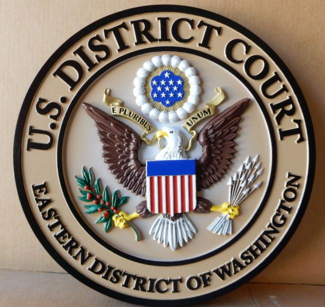 U30160 - Carved 3-D Wall Plaque of the Seal of the US District Court, Eastern District of Washington.