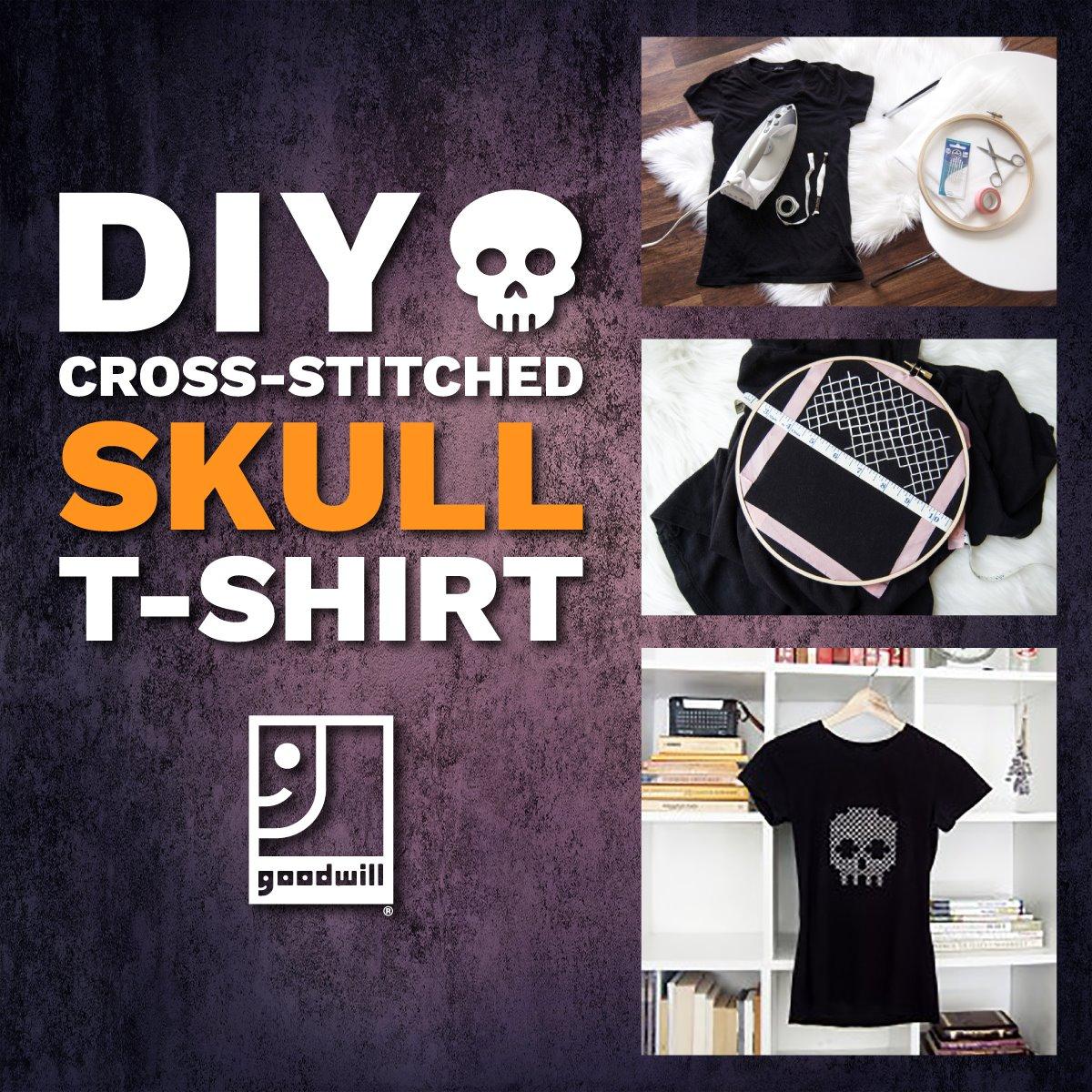 Halloween DIY: Cross-Stitched Skull Tee-Shirt