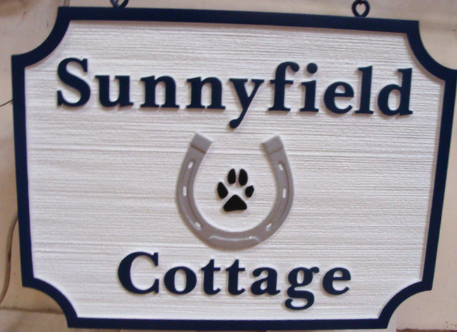 "M22029 - Carved and Sandblasted Property Name Sign for the ""Sunnyfield Cottage "", with Horseshoe"