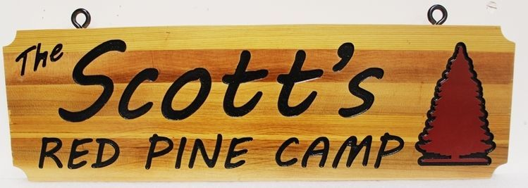 "M22038 - Engraved Western Red Cedar Cabin Sign , ""Scott's Red Pine Camp"""