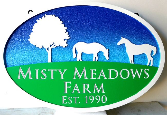 P25085 - Carved HDU Farm Sign with Tree, Horses, Green Meadow and Sky