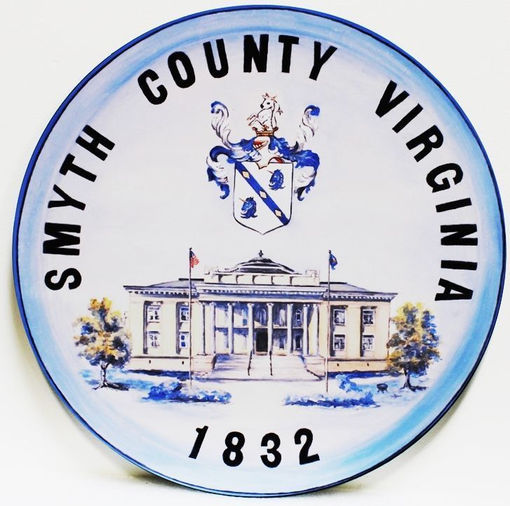 X33416 - Carved 2.5-D HDU Plaque of the Seal of Smyth County, Virginia
