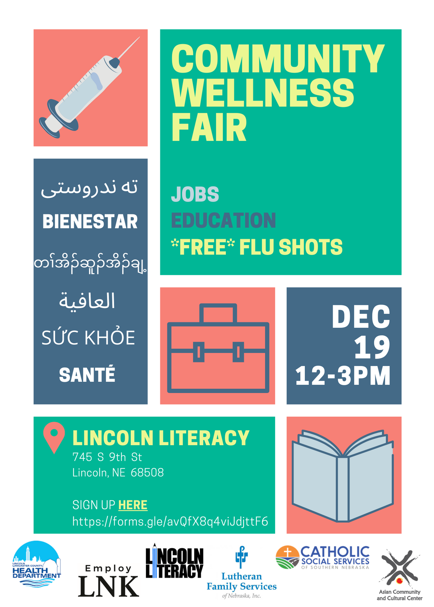 CSS, other agencies, holding a Community Wellness Fair with drive-thru flu shots on December 19th (click to see our event flyer)