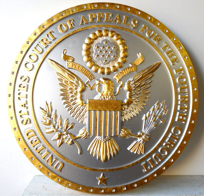 M7326 - Gold-Leaf Gilded  Plaque of the Seal of the Fourth Circuit Court Appeals, with Metallic Silver Painted Background