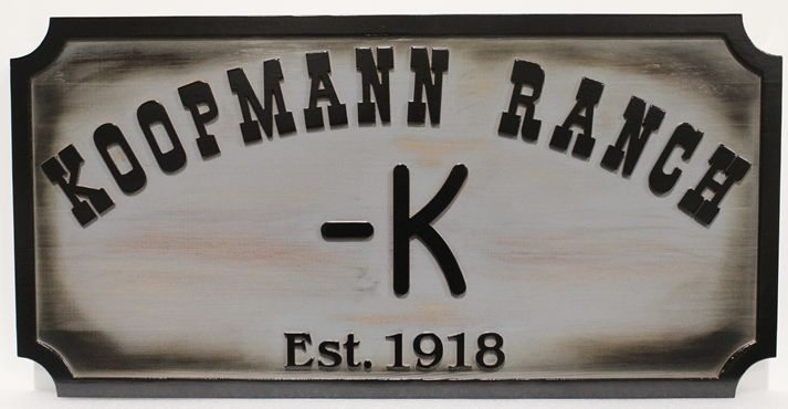 """O24936 - Cedar Wood Entrance Sign for Koopman Ranch,""""-K"""", Stained with Scorched Edges"""
