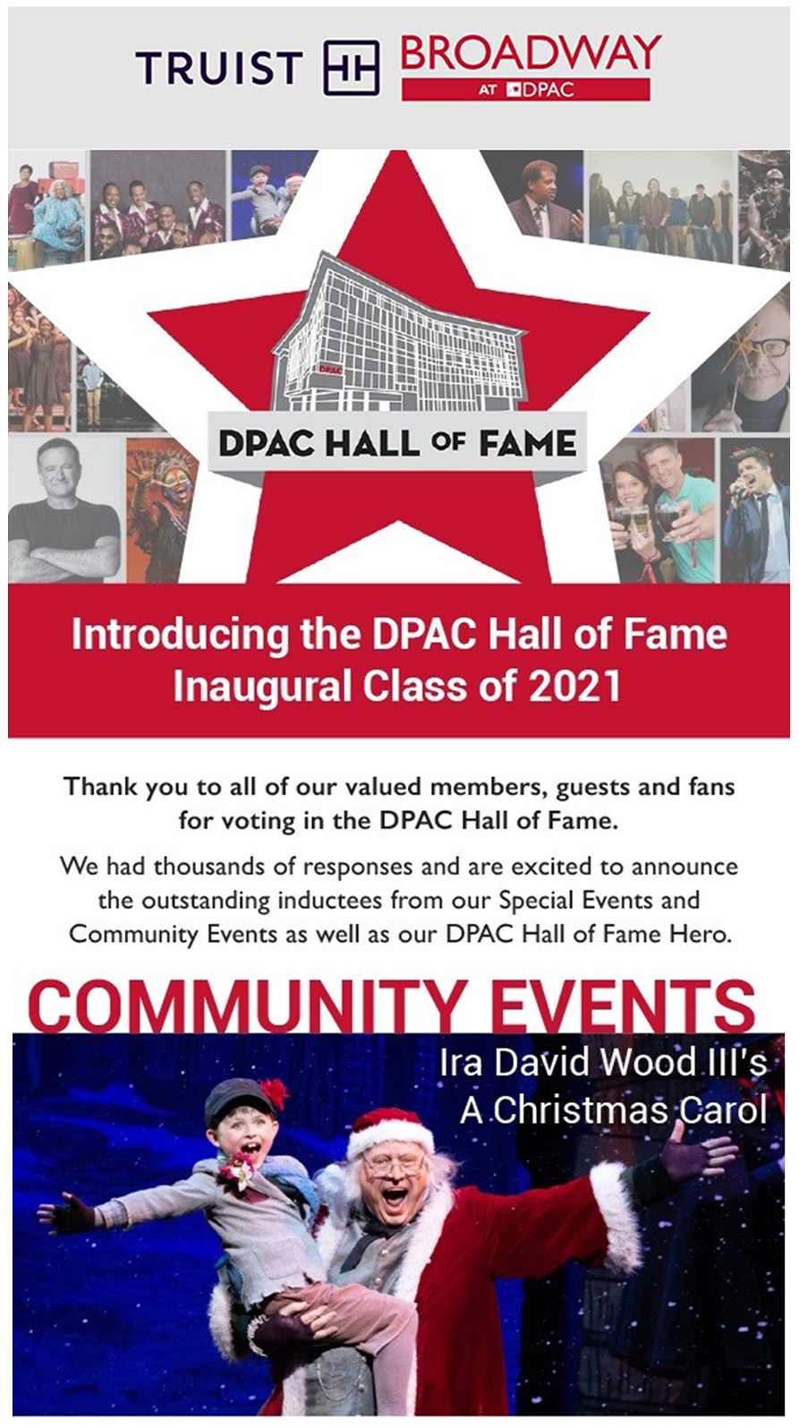 A CHRISTMAS CAROL has been inducted into DPAC's 2021 Hall of Fame!