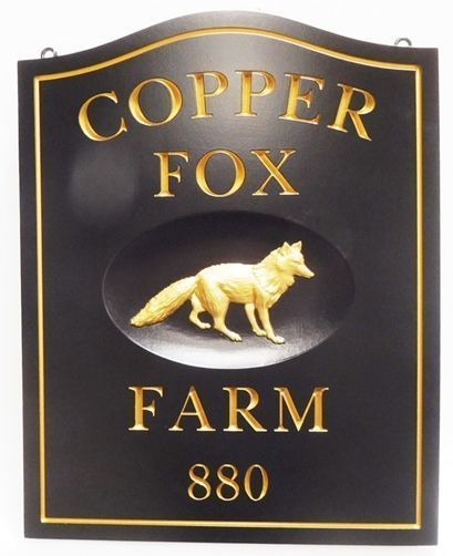 """I18559 - Carvedand Engraved Copper-Leaf Gilded  HDU Property Name Sign """"Copper Fox"""" , with Carved 3-D Fox as Artwork"""