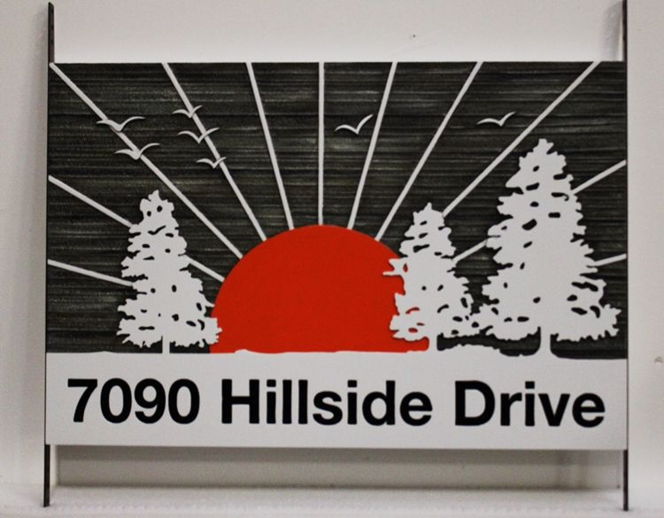 M22113 - Carved and Sandblasted High-Density-Urethane  Property Address Sign, (7090 Hillside Drive)  with Setting Sun and Trees as Artwork