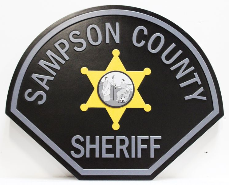PP-2432 - Carved 2.5D Raised Relief Wall Plaque of the Shoulder Patch of the Sheriff  of Sampson County,  North Carolina