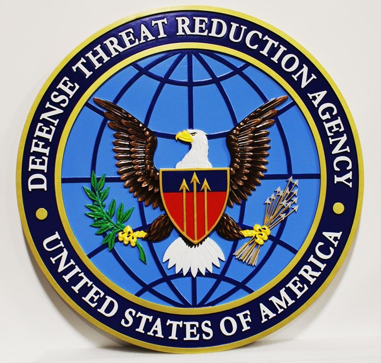 IP-1702 - Carved Plaque of the Seal of the Defense Threat Reduction Agency, 3-D Artist-Painted