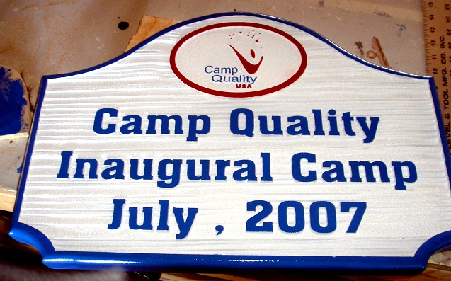 G16312 - Sandblasted, Wood-Grain Sign for Camp with Stylized Smile Logo