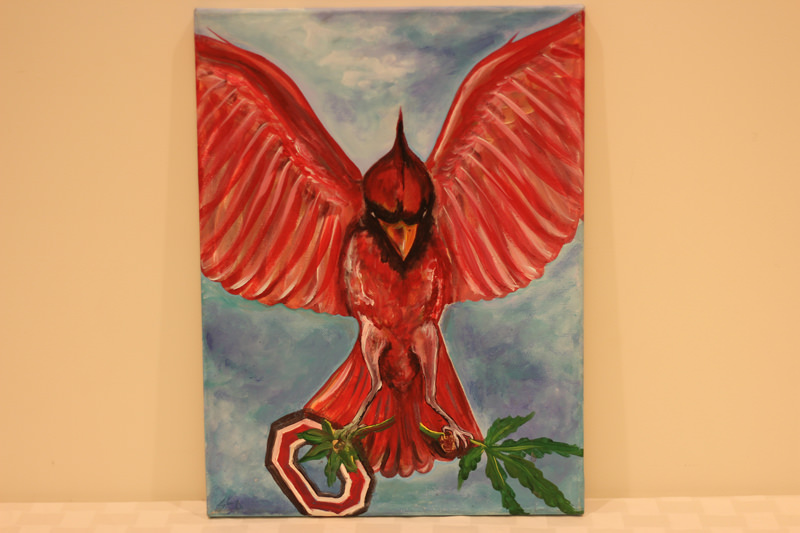 Ohio Cardinal Landing - Donated by the artist, Sharon Deon