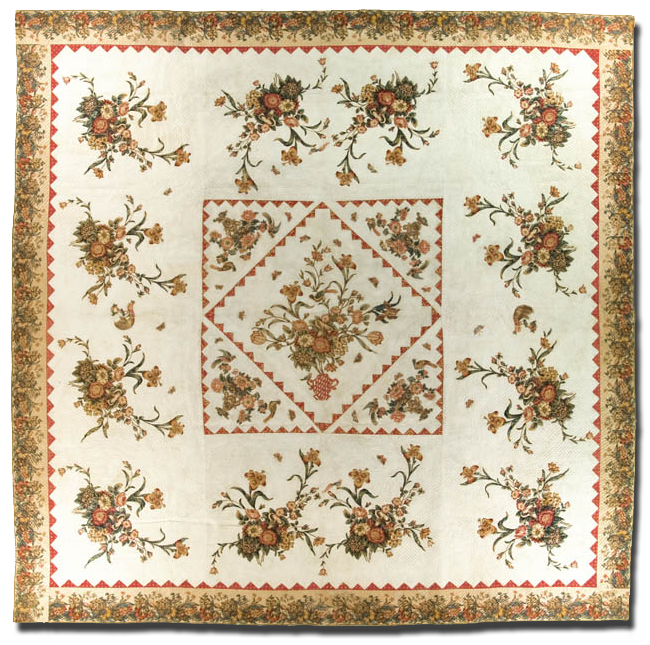 Cut-out Chintz Medallion, maker unknown, possibly made in Baltimore, Maryland, United States, circa 1830-1850, 130 x 133 in, IQSCM 1997.007.0306