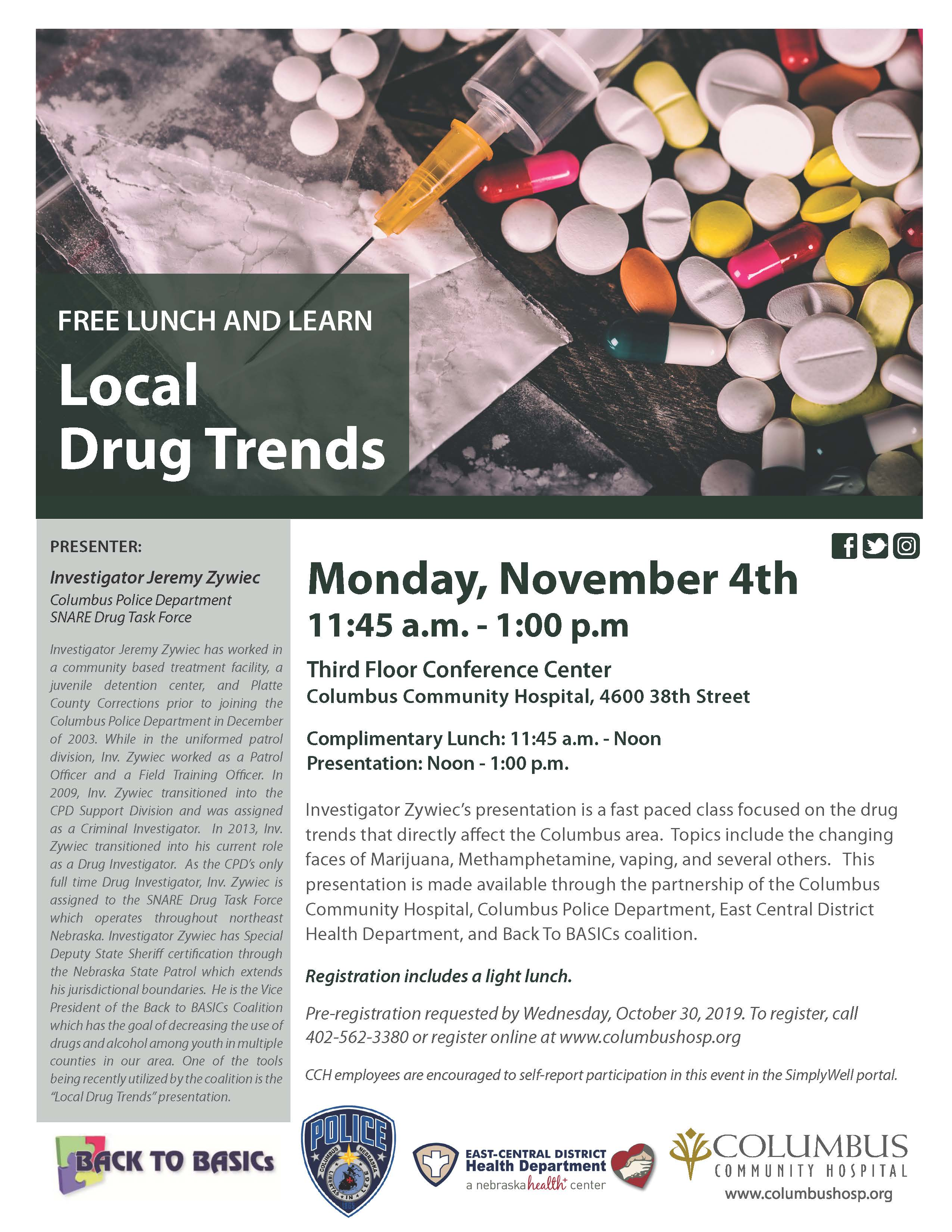 Free Lunch and Learn: Local Drug Trends
