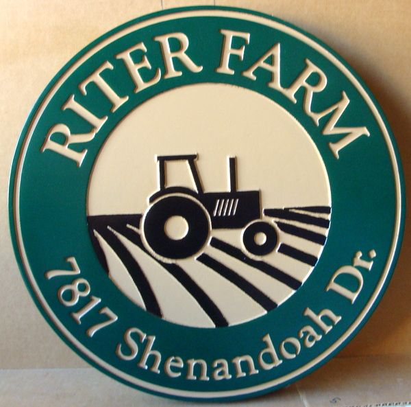 """024720 – Carved  Engraved HDU  Address Sign for """"Riter Farm"""", with Tractor"""
