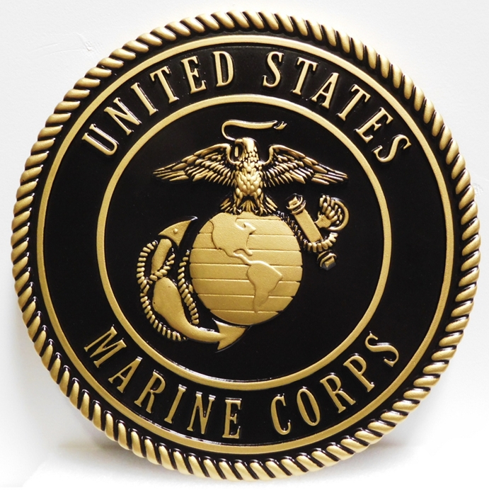 KP-1150 - Carved Plaque of the Emblem of the US Marine Corps, 3D  Painted Metallic Brass with Hand-Rubbed Black