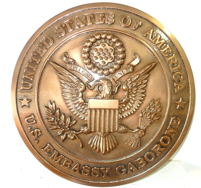 U30333 - 3-D Copper Wall Plaque for US Embassy in Gabone, State Department