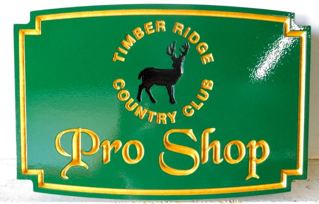 E14204 - Carved Engraved Timber Ridge Country Club Pro Shop Sign