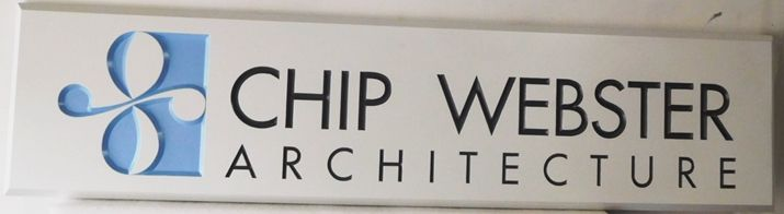 """S28061- Large Carved and Engraved  HDU Commercial Sign made for the """"Chip Webster Architecture"""" , 2.5-D Artist-Painted"""
