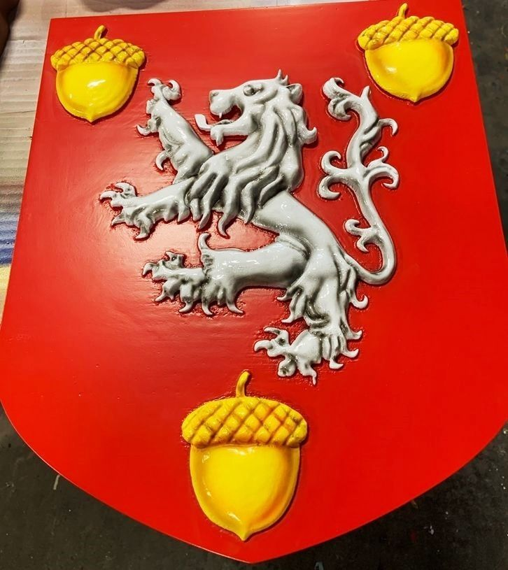 XP-1234 - Carved Plaque of Coat-of-Arms with Rampant Lion and Three Acorns, 3-D Artist-painted
