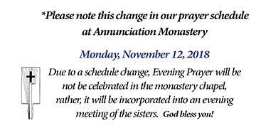 Evening Prayer schedule change - Monday, November 12