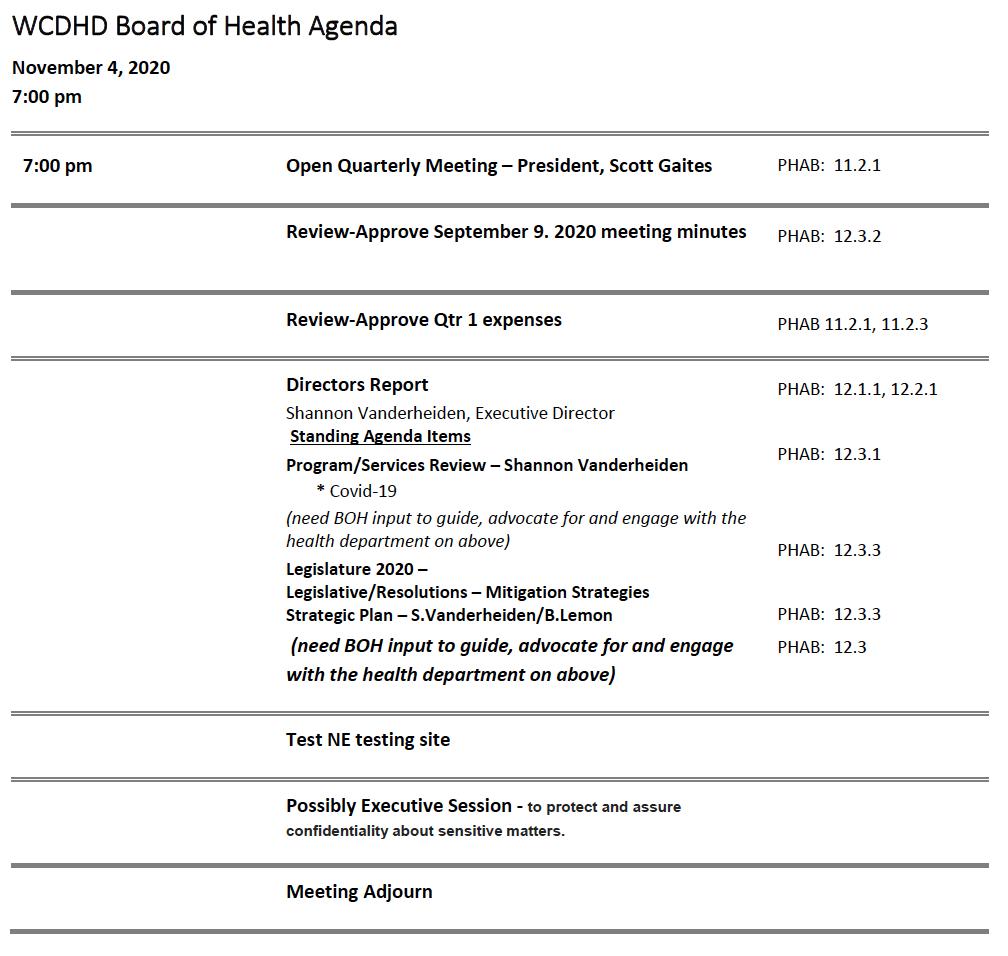 WCDHD Board of Health Quarterly Meeting