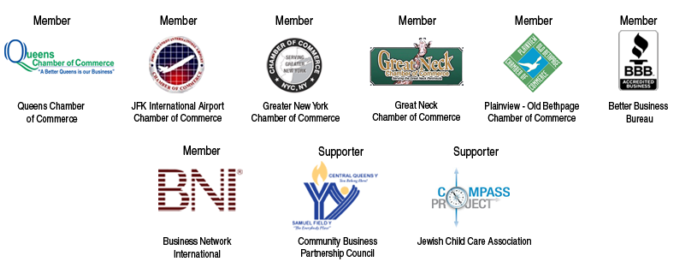 Member Queens Chamber of Commerce, Better Business Bureau, JFK Airport Chamber of Commerce, Greater New York Chamber Of Commerce