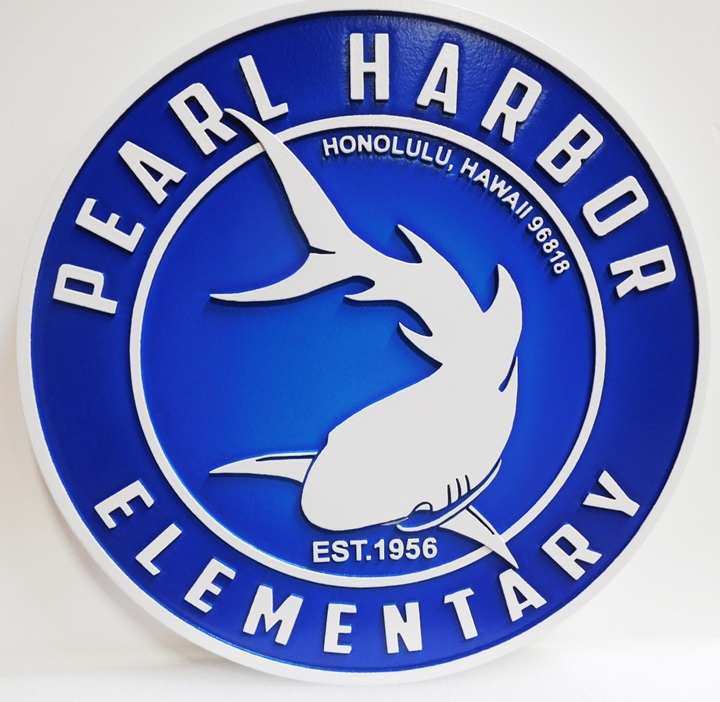 "FA15753 - Carved  HDU Round Entrance Sign for the  "" Pearl Harbor Elementary School"",  with Shark  Logo as Artwork"