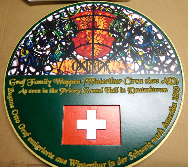 M1140 - Swiss  Family Heritage Plaque, with Stained Glass Image (Gallery 22)