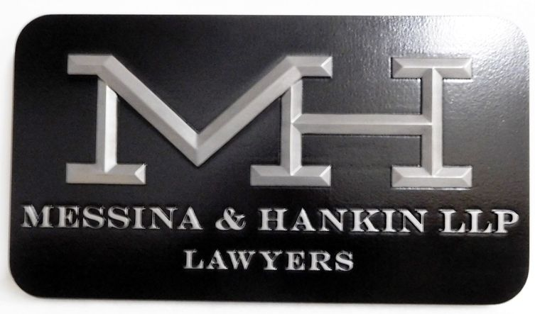 A10004A - Aluminum-Coated Carved HDU Wall Sign for Law Firm Messina and Hankin, with Logo