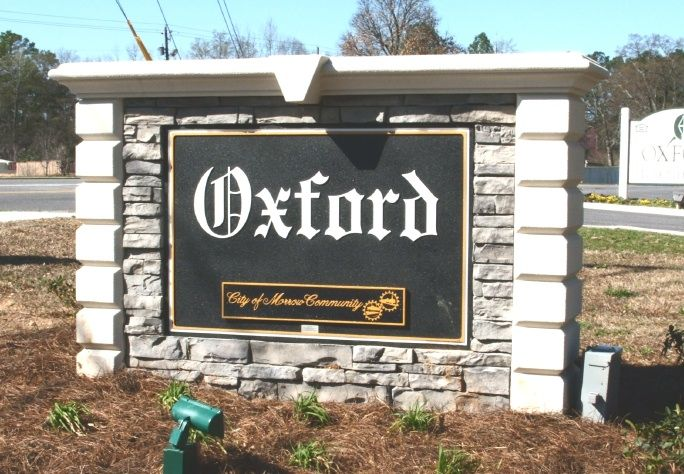 F15009 - Rectangular City Entrance Monument Sign with Stone Facade
