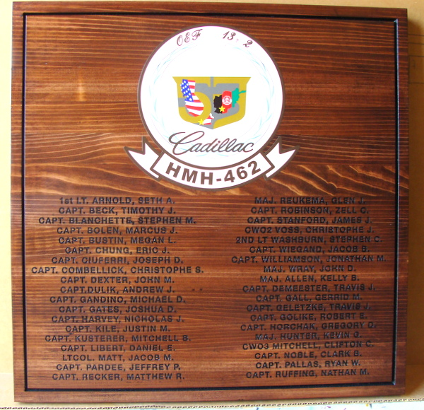 MP-3070 - Engraved  Plaque for Unit of the US Army with Officer Names,Cedar Wood