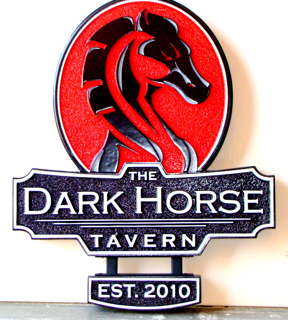 Y27542 - Close-Up of Carved Horse Tavern Sign