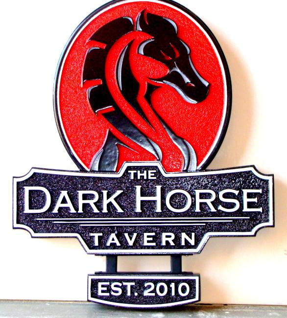 "Y27542 - Close-Up of Carved ""Dark Horse"" Tavern Sign"