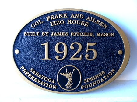 F15980- Carved Wood Historical House Plaque
