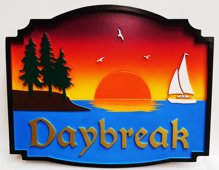 "M22517 -  Carved Coastal Home Sign ""Daybreak"" ,with  Sunrise over Water,Trees and Sailboat as Artwork"