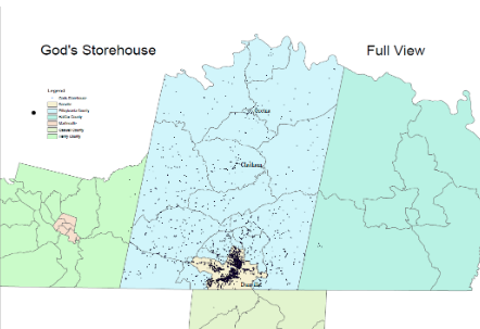 Map of people served in Danville and Pittsylvania County by God's Storehouse