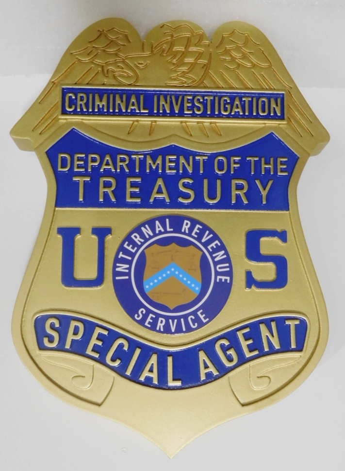 AP-4745 - Carved Wall Plaque of the Badge of a Special Agent,  Criminal Division, Internal Revenue Service Department of the Treasury, 2.5-D Relief