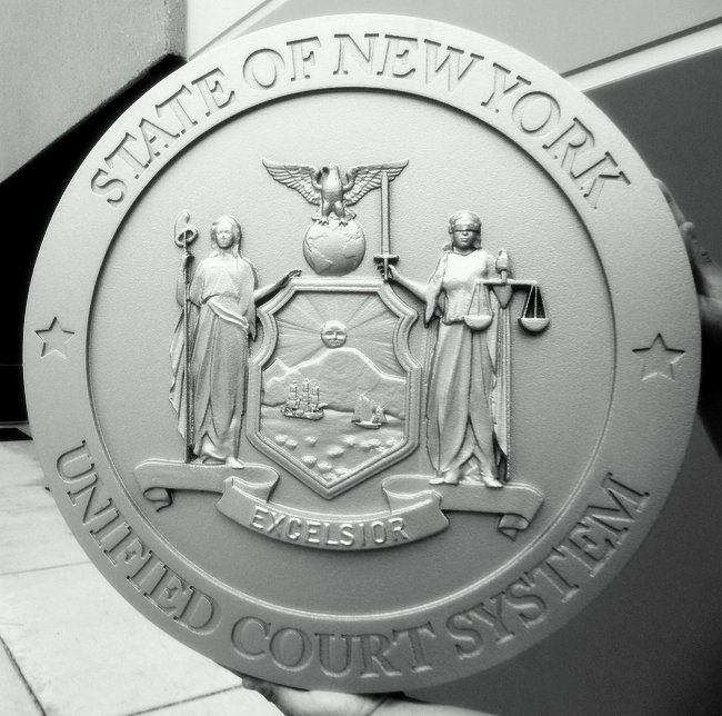 GP-1340- Carved Plaque of the Seal of the  Unified Court System, State of New York, Painted Gray