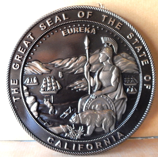 W32071A - Large Carved 3D Bas-Relief Silver-Nickel Coated Wall Plaque  of the Great Seal of the State of California