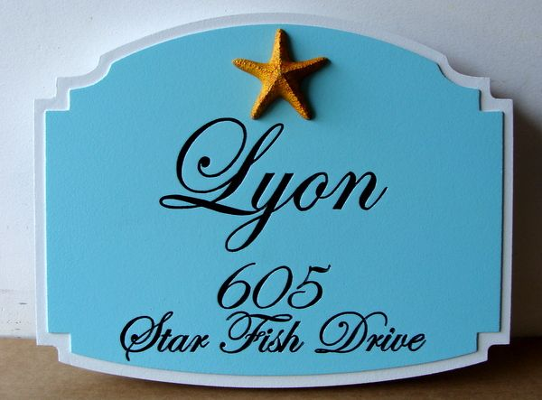 L21509 - Engraved Coastal Residence Street Address Sign, with 3-D Carved Starfish as Artwork
