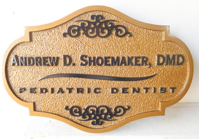 BA11603 - Carved Pediatric Dental Office, with Ornate Shape and Sandblasted Background