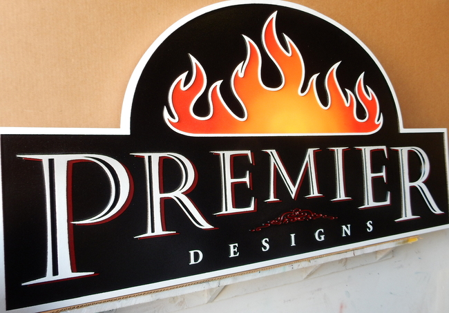 S28079A - Unique Sign for Design Studio with Fire or Flame Logo