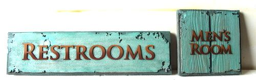 GA16632 - Antique Look, Carved, Painted Wood Signs for Restrooms  and Mens Room